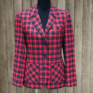Pendleton Vintage Red Plaid Wool Structured Blazer
